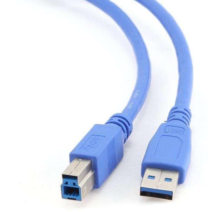 Cabo USB 3.0A(M) a USB 3.0B(M) 0,5 Mts Azul
