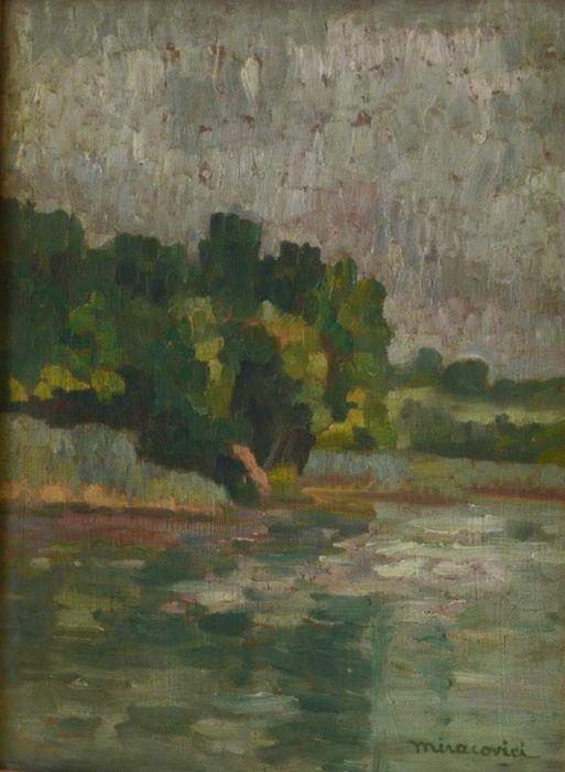 Paul Miracovici-Prisaj cu padure si lac-ulei pe placa de mahon