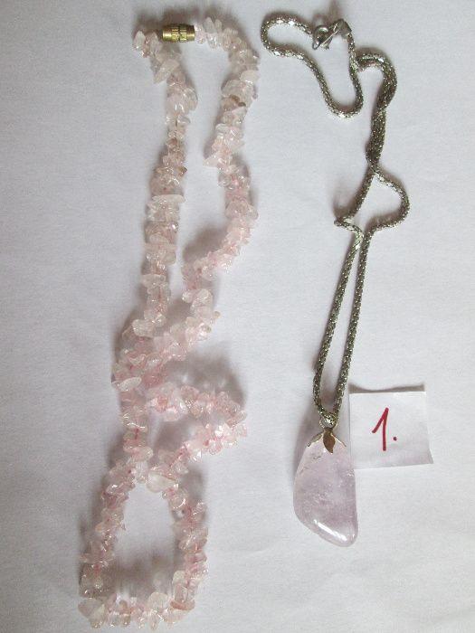 Дамски бижута,розов кварц,перли, позлата,M&S,колиета,гривна