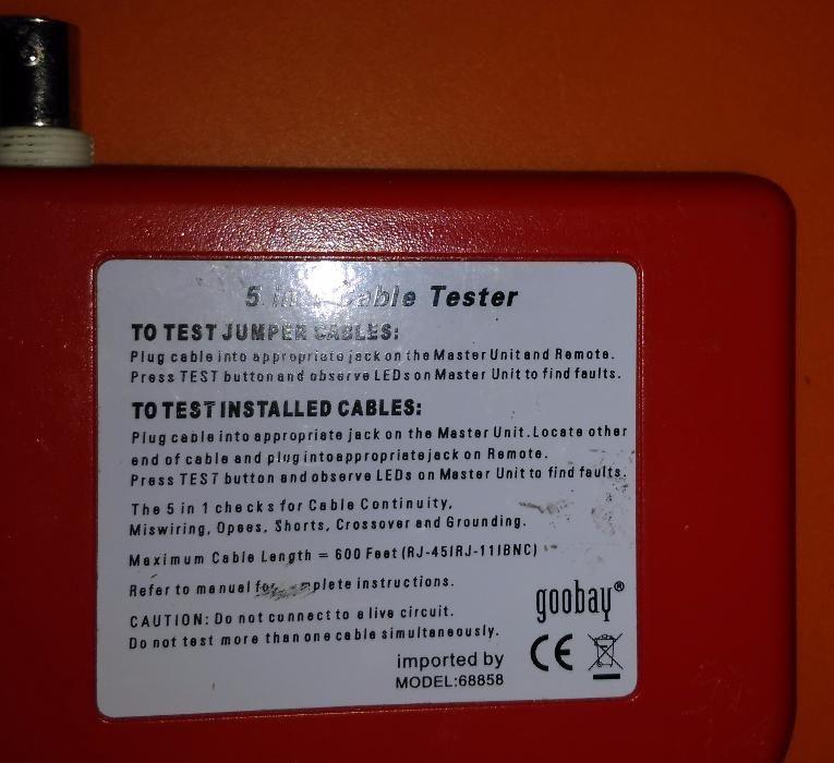 Tester 5 in 1 (RJ45 + RJ11 + 1394 + usb + bnc )