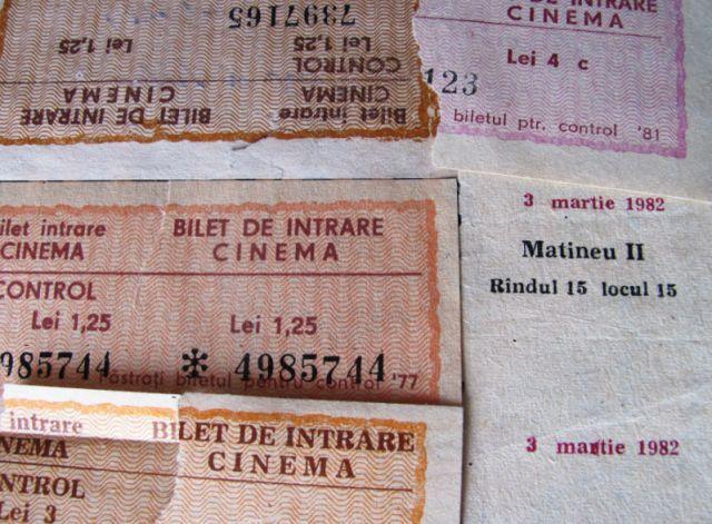 Lot 5 bilete cinema - anii 70-80 - Epoca de Aur, filme