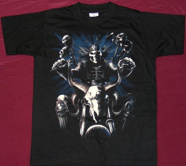 Tricou Schelet pe moto-bovina , tricouri scheleti/cranii/sclelet/crani