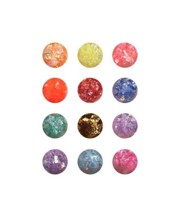 Цветно фолио за декорация на маникюр - 12 цвята в комплект