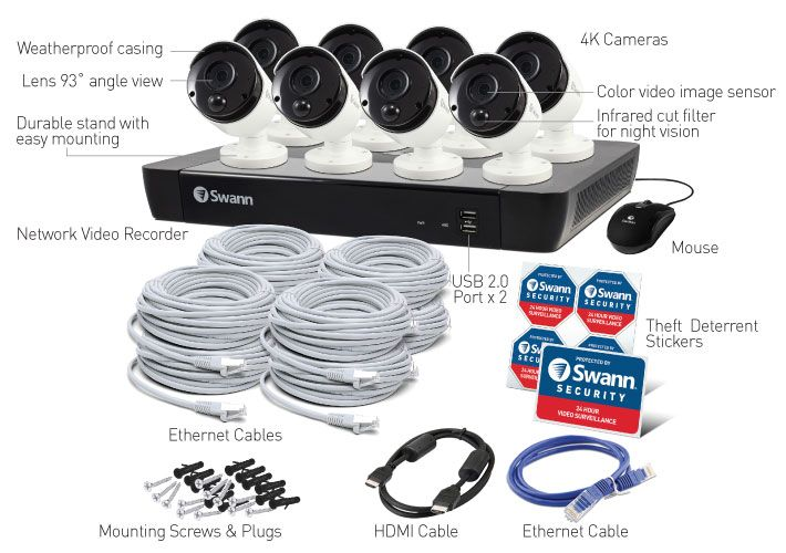 cctv 16 Channel 4K Ultra HD NVR Security System 8 cameras 4k