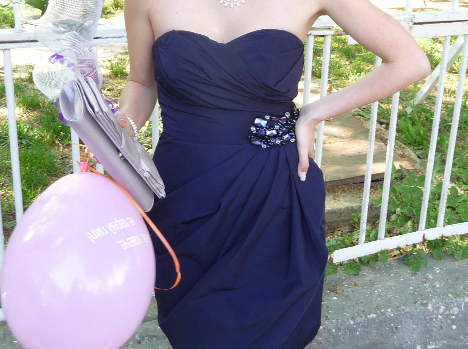 Официална синя рокля от шифон