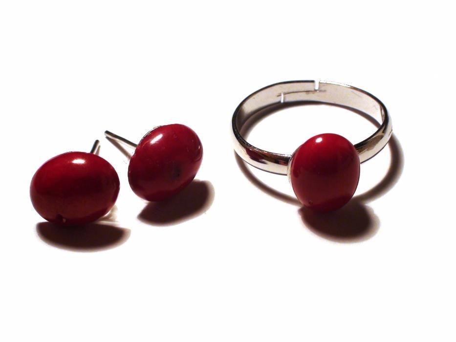 Inel si cercei din Argint 925 si Coral rosu, cadou romantic