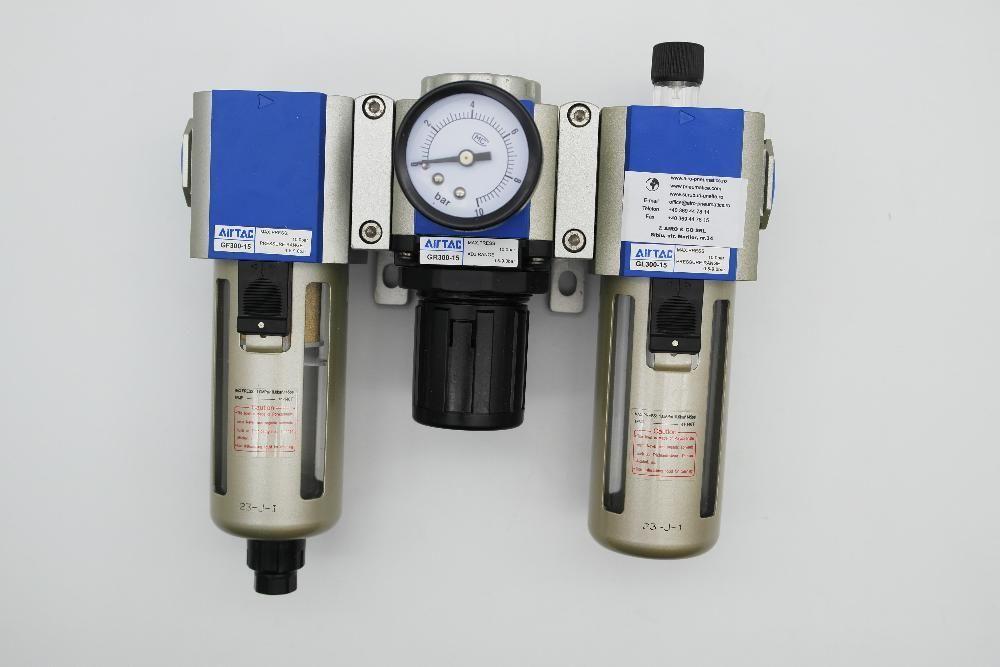 Unitate preparare aer cu filtru, regulator si ungator