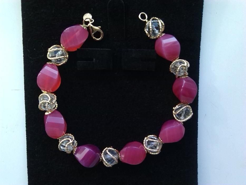 Bratara din aur 14k cu agate rosii casa MILOR-Italia