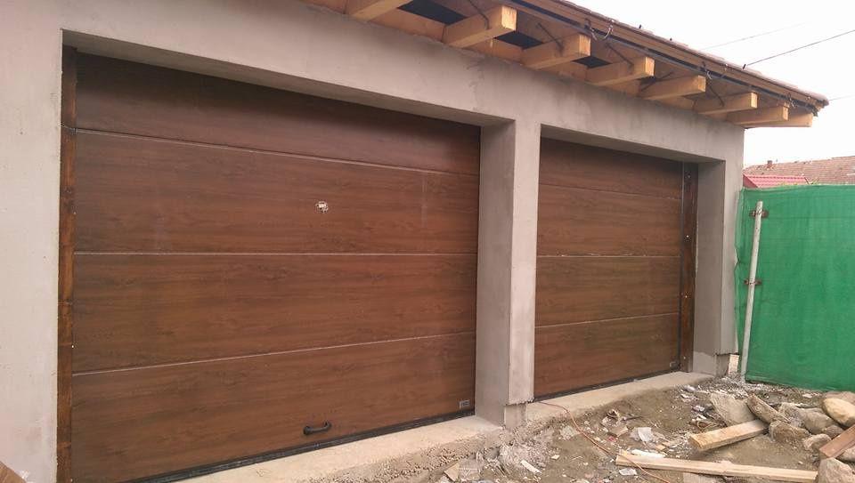 Uși de garaj secţionale 2400*2700 Nuc - model flat
