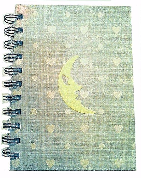 Caiet/carnetel A6, coperta cartonata, lucios, fosforescent, nou - luna