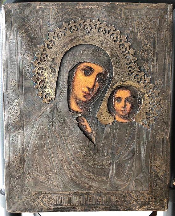 Icoana ruseasca cu riza din argint, marcata, Maica Domnului din Kazan