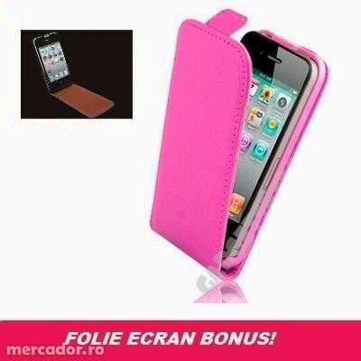 Husa Eleganta TOC Piele ROZ iPhone 4 / 4S + Folie