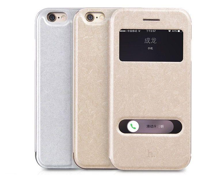 Bumper/Husa piele + aluminiu Hoco, IPHONE 6, 2in1, pe auriu, argintiu