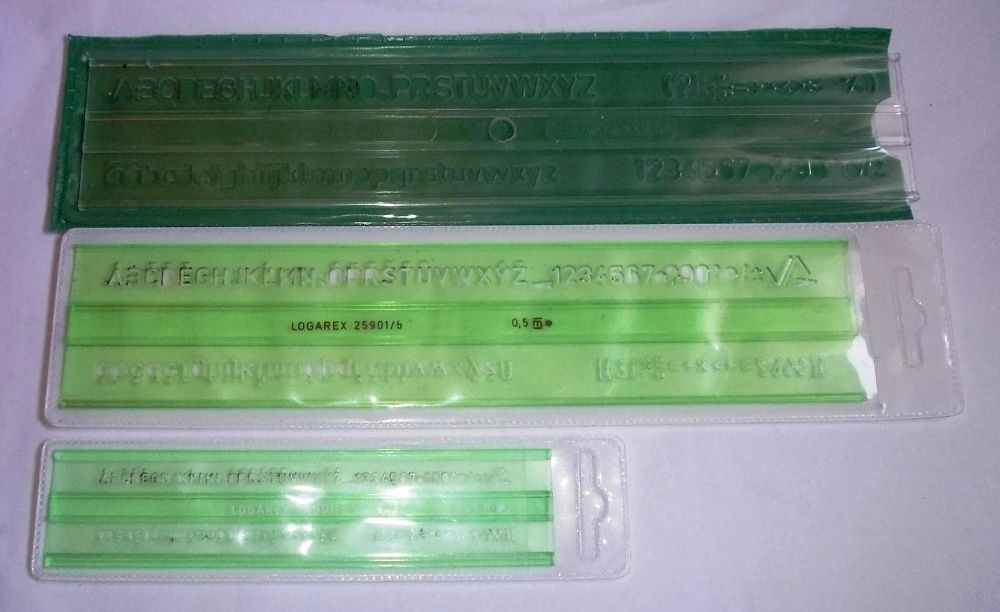 3 sabloane scriere tehnica 2,5mm - 5mm- 7mm