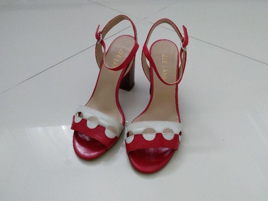 Sandale noi Zee Lane, piele naturală, combinație roșu cu alb