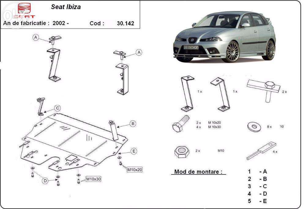 Scut metalic pentru motor Seat Ibiza 2002-2016 - otel 2mm