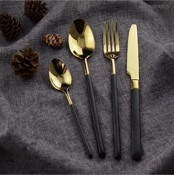 Tacamuri pentru masa 24 buc black/gold