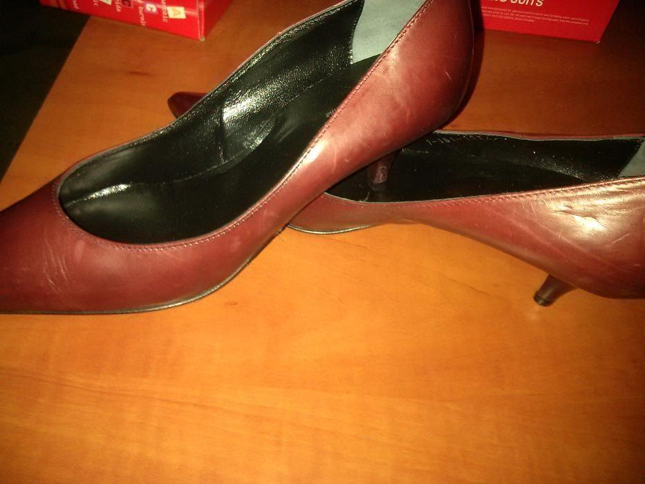 Pantofi dama noi, din piele maro, marimea 38