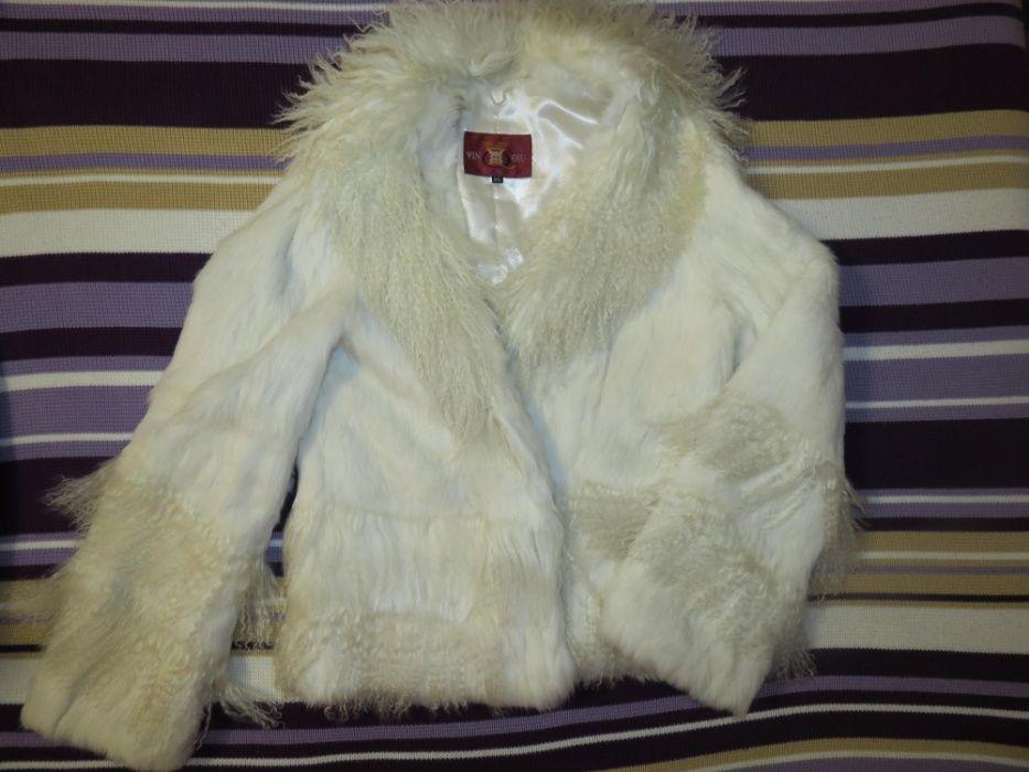 шубка белая из кролика и волнистой козы