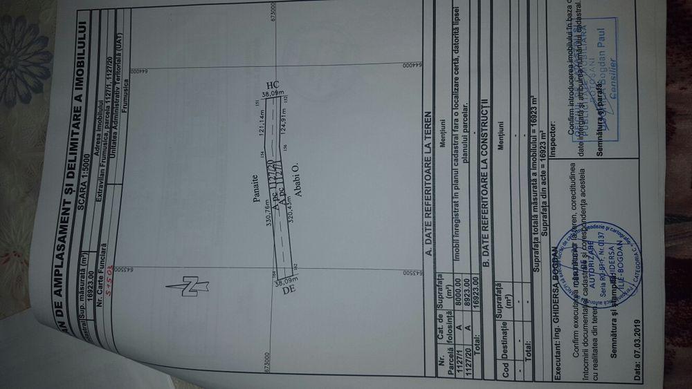 Vand urgen teren extravilan 1.7 Ha (17.000mp) drum acces BT Frumusica