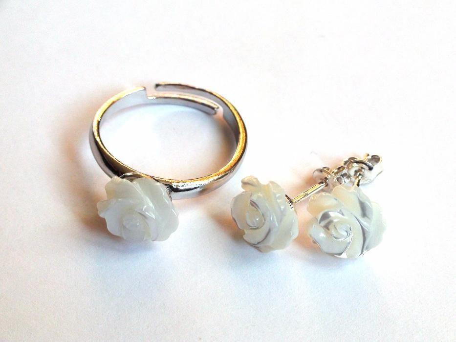 Inel si cercei din Argint 925 si Sidef alb, set bijuterii mireasa