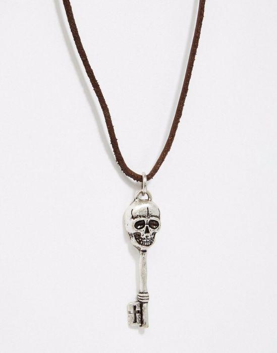 Colier piele cu pandantiv metal craniu / skull necklace rock untold