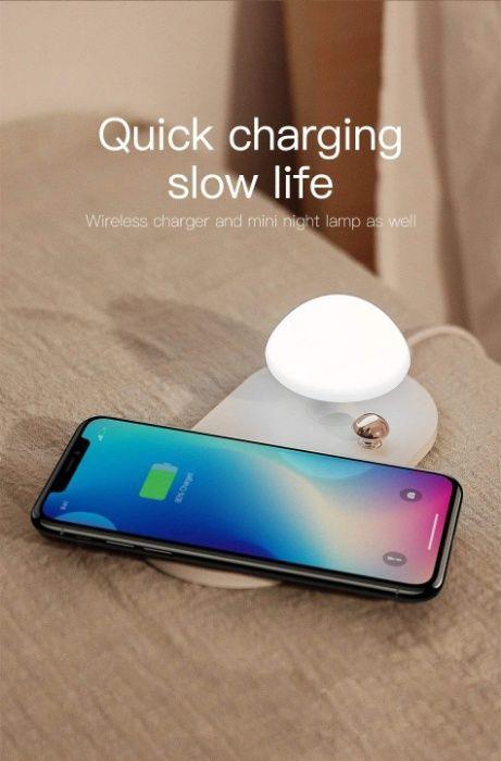 Безжично зарядно с нощна лампа QI Wireless Charger with Touch-control