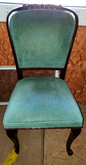 Set 6 scaune salon din lemn masiv cu arcuri, tapițate stare f. bună