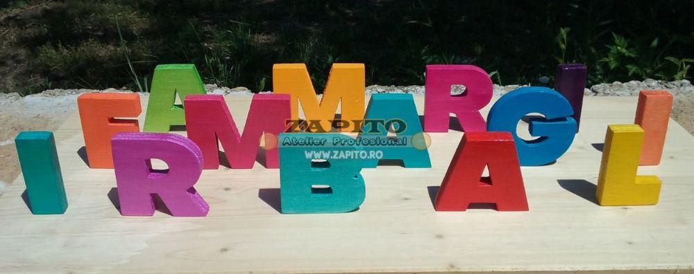 litere evenimente - litere decorative copii - litere colorate din lemn