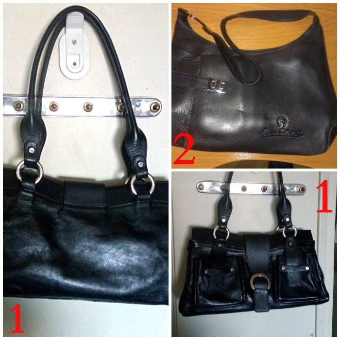 Дамски чанти от естествена черна кожа 2бр.