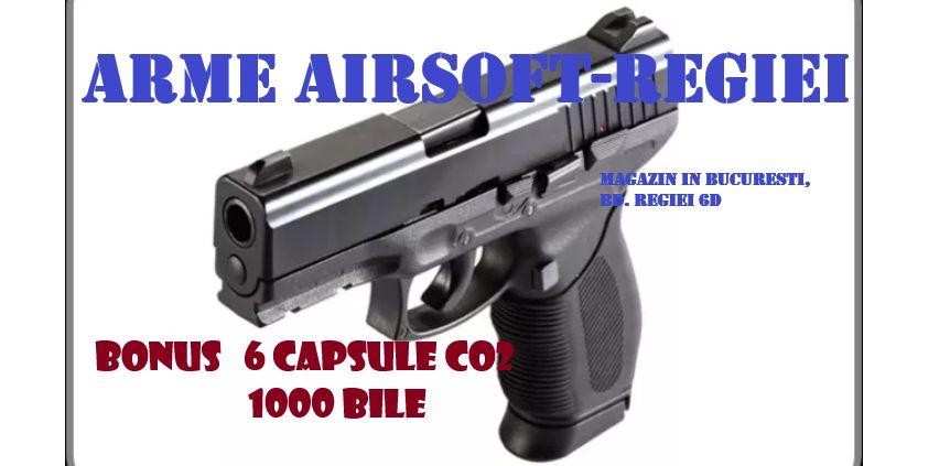 Putere MARE! Oferta-Pistol TAURUS 24/7/METAL co2 Upgraded+6caps+1000BB