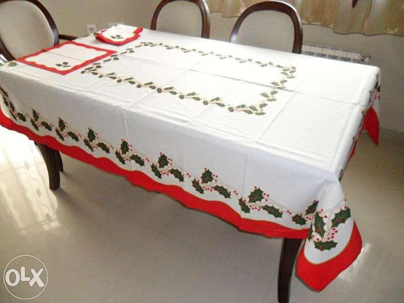 Голяма покривка за маса 197*160 см+6 кърпи, 50% памук, коледна, коледа