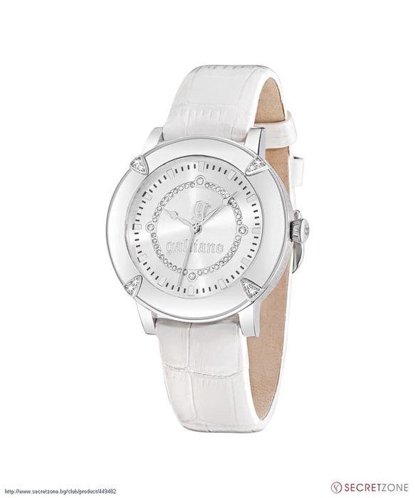 Дамски часовник John Galliano в бял цвят с кристали