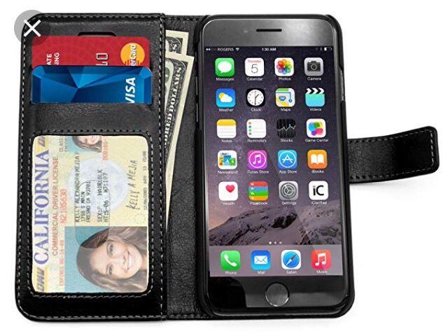 Husa portofel iPhone 7 negru rose rosu