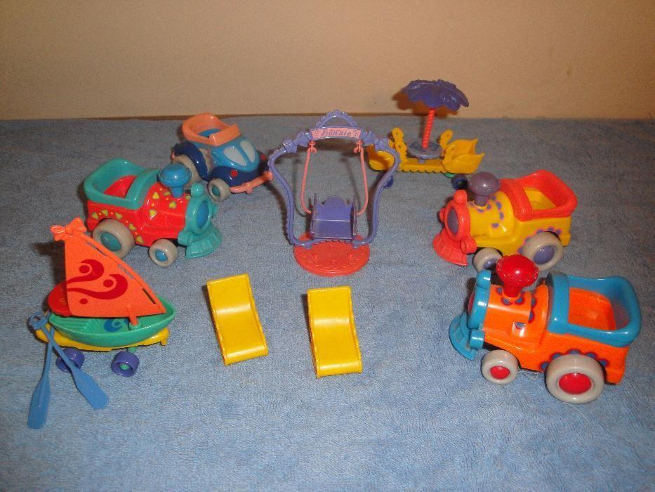 Сет / комплект / лот от 7 детски играчки – влакчета / колички + люлка