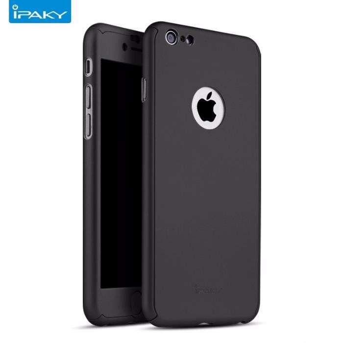 Husa 360º iPaky pentru iPhone 6/6S cu folie de protectie - Negru