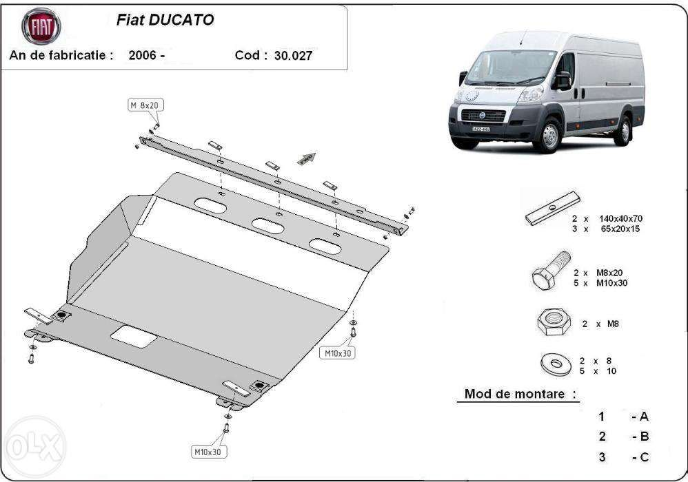 Scut metalic pentru motor Fiat Ducato 2006-prezent - otel 2mm