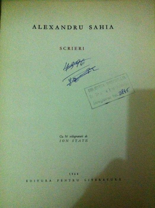 Carte Alexandru Sahia- Scrieri