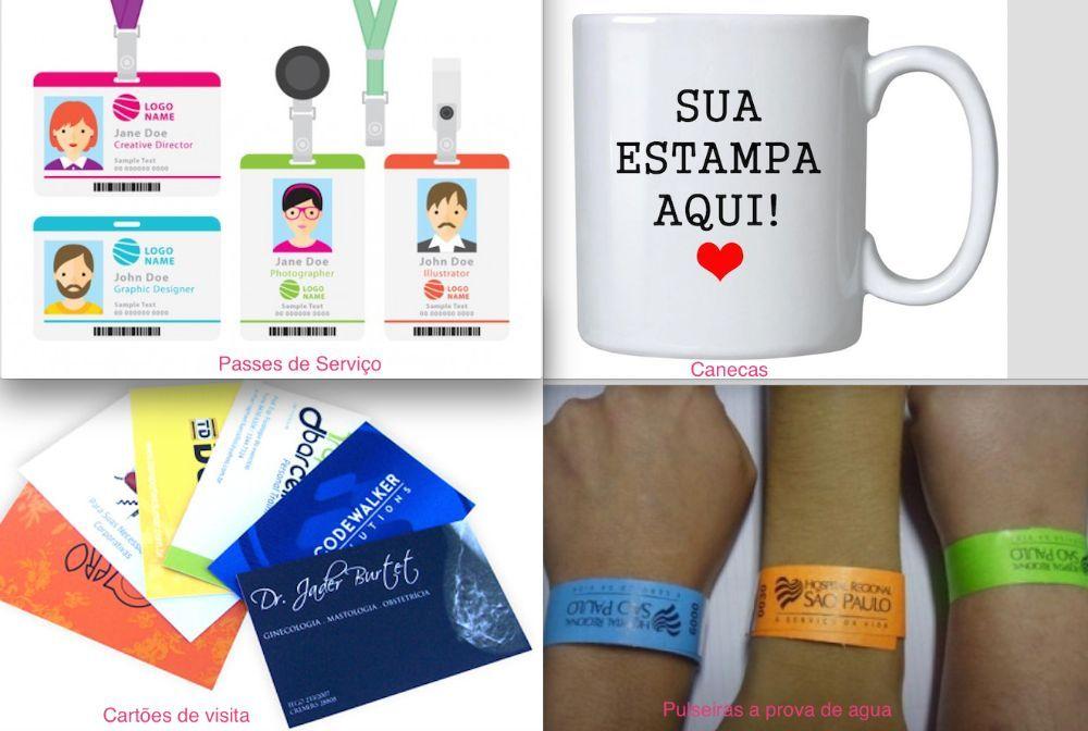 Promoção de cartões de visita, passes de serviço, pulseiras e caneca