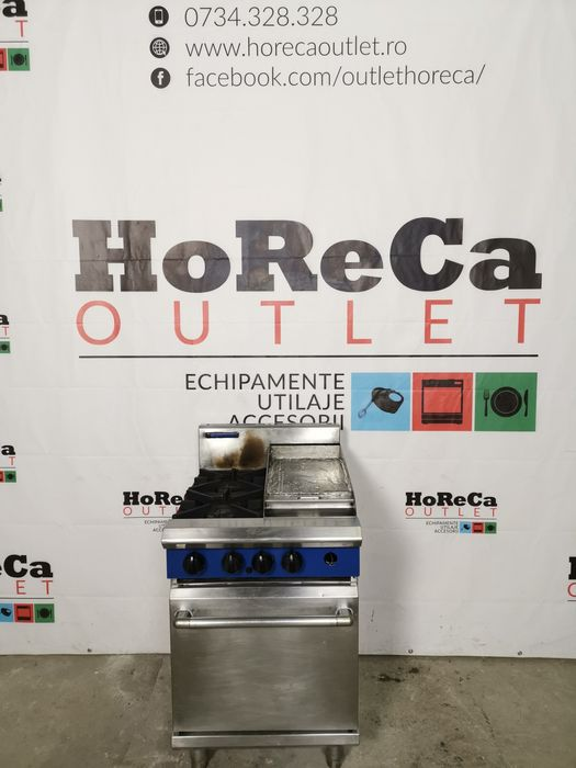 Aragaz profesional cu gratar/grill plat/lis; Masina de gatit cu cuptor
