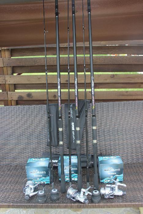 Set 3 Lansete Gold Shark 2,7 Metri + 3 Mulinete Wind Blade EGR 60
