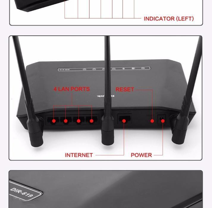 Router D-link Dir-619, Router Wifi Cu 3 Antene, 300mb/sec, Cloud