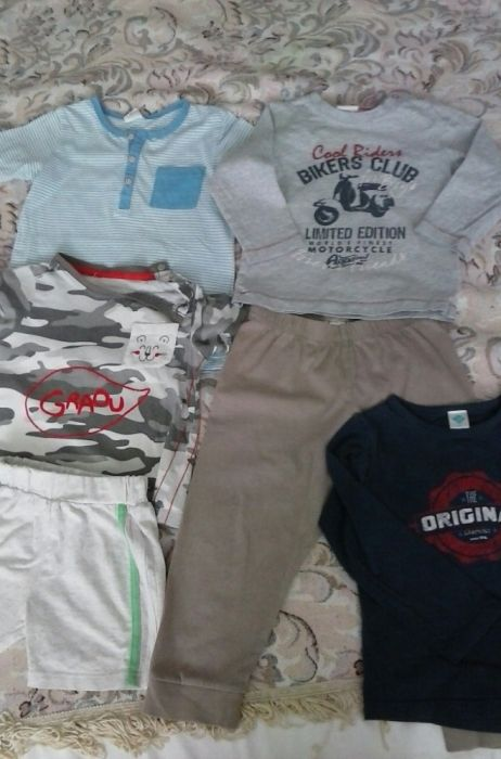 Lot 6 buc, tricouri, bluze, pantaloni ptr baieti, 86-92
