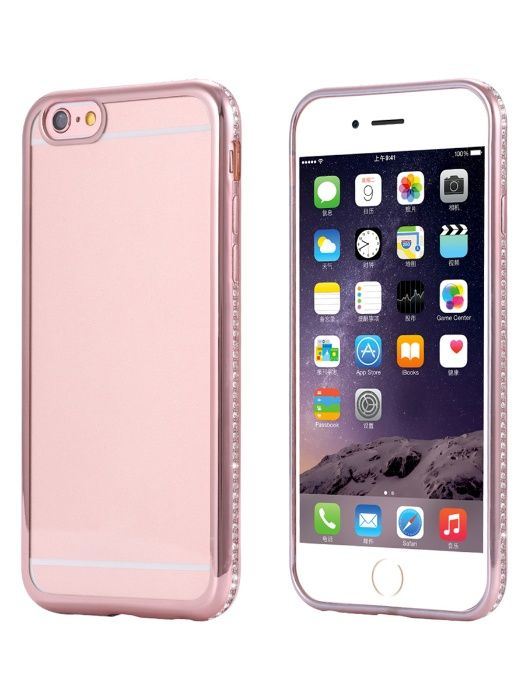 Husa Apple iPhone 6/6S, Elegance Luxury placata cu diamante Rose-Gold