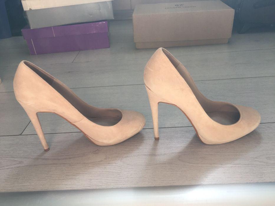 Pantofi de piele intoarsa nude - ZARA