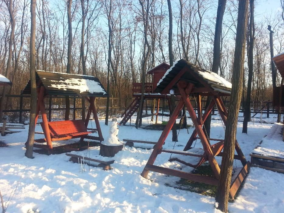 Cabana in padure cu ponton la lac Milcov
