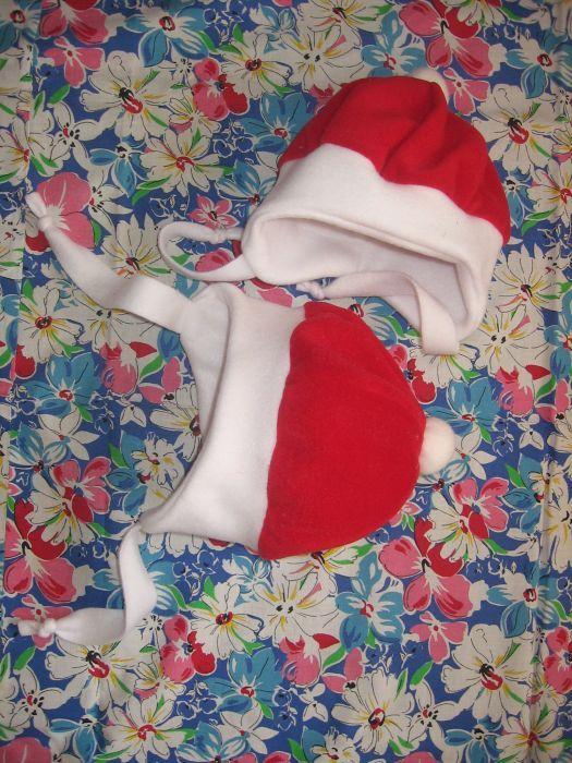 Caciula bebe, rosu cu alb, sarbatori, 43 cm de jur imprejur banda alba