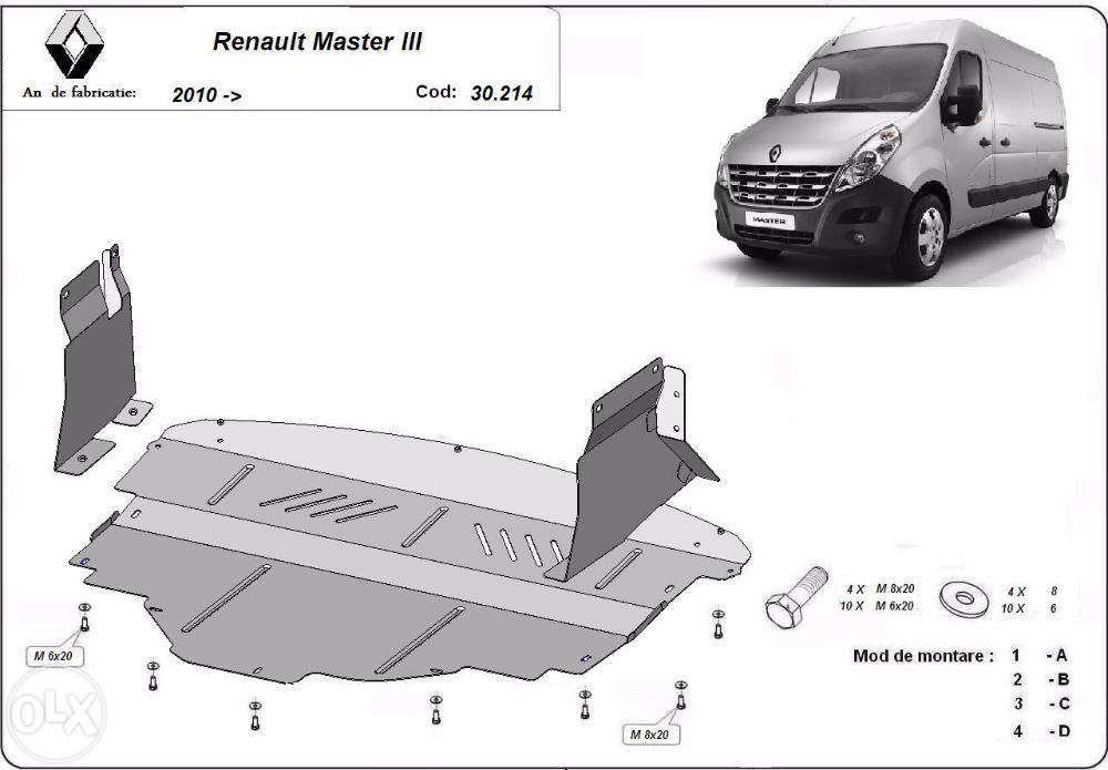 Scut metalic pentru motor Renault Master 2010-2016 - otel 2mm