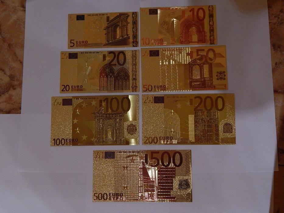 Lot 7 bancnote euro din polimer placat cu aur 24k