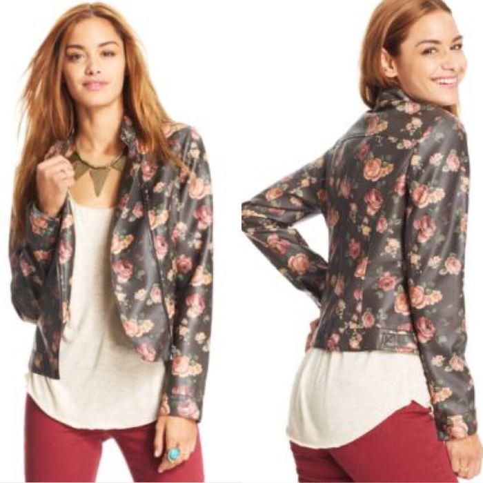 Geaca Jacheta Piele flori imprimeu floral stil Zara dama